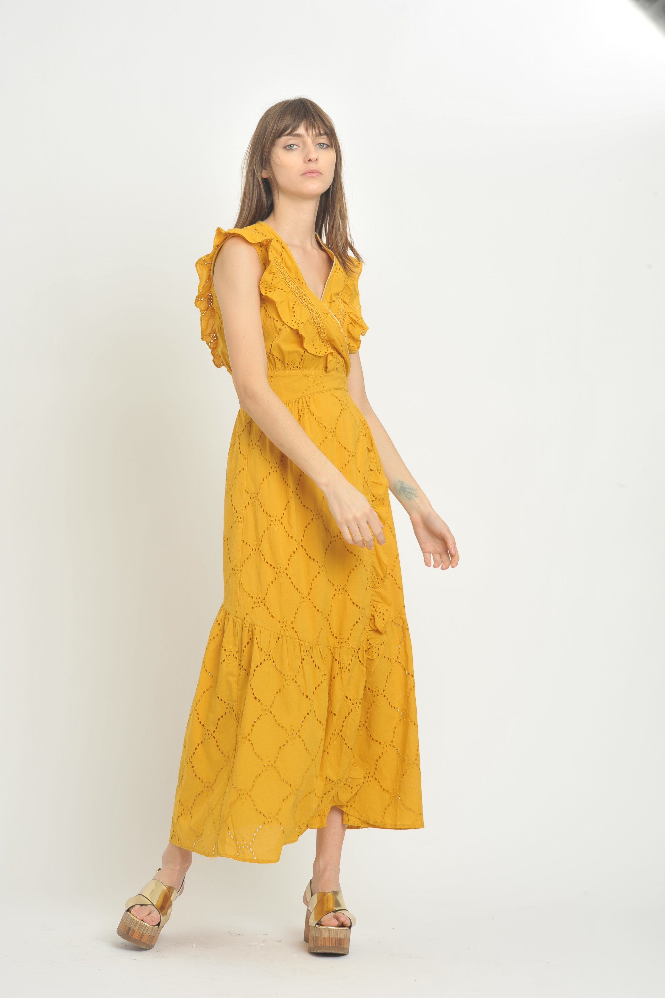 Robe Clio Broderie Anglaise Ocre